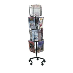 "Safco® Wire Rotary Literature Display, 61 1/4""H x 15""W x 15""D, 16 Pockets, Charcoal"