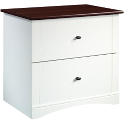 """Sauder® Select 32""""W Lateral 2-Drawer File Cabinet, Soft White/Select Cherry"""