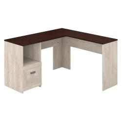 """Bush Furniture Townhill 54""""W L-Shaped Desk, Washed Gray/Madison Cherry, Standard Delivery"""