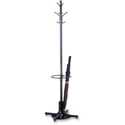 Safco® Metal Costumer With Umbrella Rack, Black