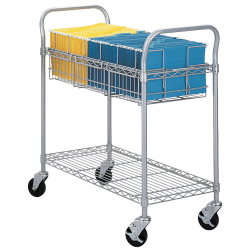 "Safco® Wire Mail Cart, 38 1/2""H x 21""W x 42""D, Metallic Gray"