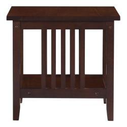 "Linon Thrombrey End Table With Shelf, 19""H x 20""W x 20""D, Espresso"