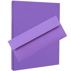 """JAM Paper® Stationery Set, 8 1/2"""" x 11"""", 30% Recycled, Violet, Set Of 100 Envelopes And 100 Sheets"""