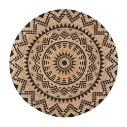 "Anji Mountain Round Cortez Rug, 48"", Tan/Black"