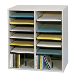 "Safco® Adjustable Wood Literature Organizer, 20""H x 19 1/2""W x 11 3/4""D, 16 Compartments, Gray"