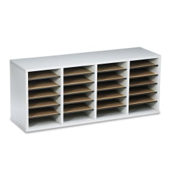 """Safco® Adjustable Wood Literature Organizer, 16 3/8""""H x 39 3/8""""W x 11 3/4""""D, 24 Compartments, Gray"""