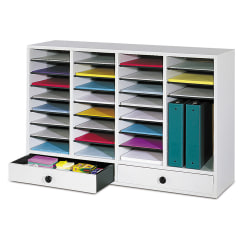 "Safco® Adjustable Wood Literature Organizer, 25 3/8""H x 39 3/8""W x 11 3/4""D, 32 Compartments, 2 Drawers, Gray"
