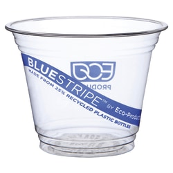 Eco-Products BlueStripe Cold Cups - 9 fl oz - 500 / Carton - Clear - Polyethylene Terephthalate (PET) - Cold Drink - Recycled