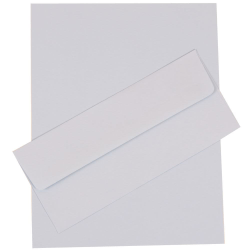 "JAM Paper® Business Stationery Set, 8 1/2"" x 11"", Baby Blue, Set Of 50 Sheets And 50 Envelopes"