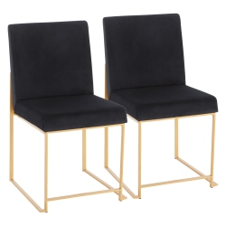 LumiSource Fuji High Back Dining Chairs, Black/Gold, Set Of 2 Chairs