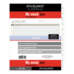 "At-A-Glance® Weekly Planner Refill, 8-1/2"" x 11"", Black/White, January To December 2021, 491-285"