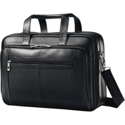 """Samsonite Carrying Case (Briefcase) for 15.6"""" Notebook - Black - Leather - Checkpoint Friendly - Shoulder Strap, Handle - 12"""" Height x 16.3"""" Width x 4.8"""" Depth"""