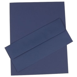 "JAM Paper® Business Stationery Set, 8 1/2"" x 11"", Presidential Blue, Set Of 50 Sheets And 50 Envelopes"