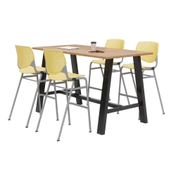 """KFI Midtown Bistro Table With 4 Stacking Chairs, 41""""H x 36""""W x 72""""D, Kensington Maple/Yellow"""