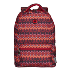 """Wenger Colleague Backpack With 16"""" Laptop Pocket, Red Tribal"""