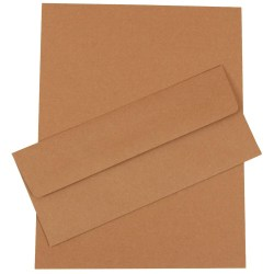 """JAM Paper® Business Stationery Set, 8 1/2"""" x 11"""", 100% Recycled, Brown Kraft, Set Of 50 Sheets And 50 Envelopes"""