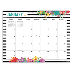 """TF Publishing Monthly Desk Pad Calendar, 22"""" x 17"""", Floral, January To December 2021"""