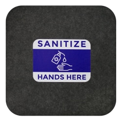 "M + A Matting Sure Stride Impressions Mats, Sanitize Hands Here, 17"" x 17"", Smoke, Pack Of 6 Mats"
