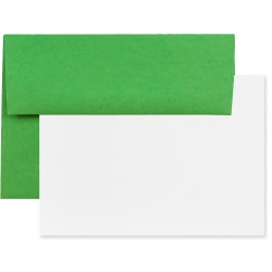 "JAM Paper® Stationery Set, Gummed Closure, 5 1/2"" x 8 1/8"", 100% Recycled, Set Of 25 White Cards And 25 Brown Kraft Envelopes"