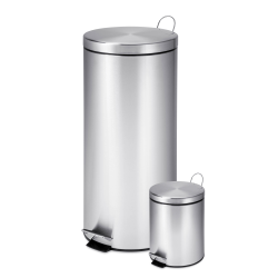 Honey-Can-Do Round Stainless-Steel Step Trash Cans, 0.8 Gallons/7.9 Gallons, Satin, Set Of 2