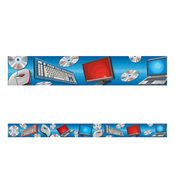 """Teacher Created Resources Border Trim, Straight, 3"""" x 35"""", Computer, Pre-K - College, Pack Of 12"""