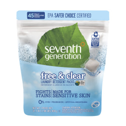 Seventh Generation™ Free & Clear Laundry Detergent Packs, Unscented, Pack Of 45