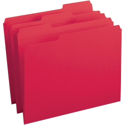 Business Source Reinforced Tab Colored File Folders - Red - 100 / Box