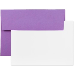"""JAM Paper® Stationery Set, 5 1/4"""" x 7 1/4"""", 30% Recycled, Set Of 25 White Cards And 25 Violet Envelopes"""