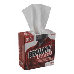 "Brawny® Industrial Medium-Duty Premium Wipes, 9 1/4"" x 16 3/8"", White, Box Of 90"