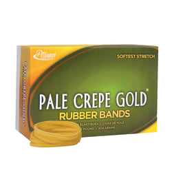 "Alliance® Pale Crepe Gold® Rubber Bands, #32, 3"" x 1/8"", 1 Lb, Box Of 1,100"