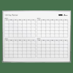 "SKILCRAFT® 4-Month Dry-Erase Calendar Board, Steel, 48"" x 36"", White, Silver Aluminum Frame (AbilityOne 7110-01-622-2133)"