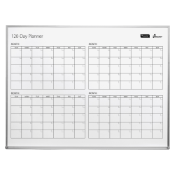 "SKILCRAFT® 4 Month Non-Magnetic Dry-Erase Whiteboard Calendar Board, 48"" x 36"", Silver Aluminum Frame (AbilityOne 7110 01 622 2133)"