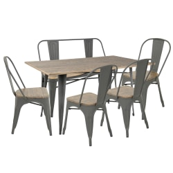 Lumisource Oregon Industrial Farmhouse Dining Table With 1 Bench And 4 Dining Chairs, Gray/Brown