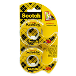"Scotch® 137 Photo-Safe Double-Sided Tape In Dispenser, 1/2"" x 400"", Clear, Pack of 2 rolls"