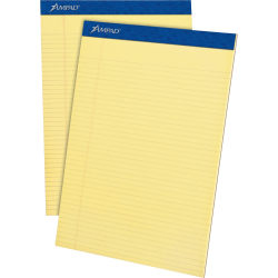 Ampad Perforated Ruled Pads, Letter Size, 50 Sheets, Ruled, Canary Paper, Dark Blue, Box Of 12
