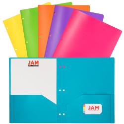 "JAM Paper® POP Plastic 3-Hole Punched 2-Pocket School Folders, 9-1/2"" x 11-1/2"", Assorted Fashion, Pack Of 6 Folders"