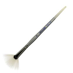 Silver Brush Silverwhite Series Short-Handle Paint Brush, Size 6, Fan Bristle, Synthetic Taklon Filament, Multicolor