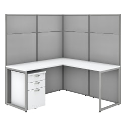 """Bush Business Furniture Easy Office 60""""W L-Shaped Cubicle Desk With File Cabinet And 66"""" Panels, Pure White/Silver Gray, Premium Installation"""