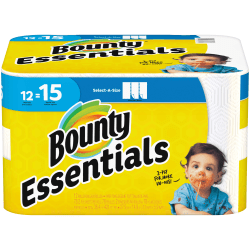 "Bounty Essentials 2-Ply Paper Towels, Select-A-Size, 5-7/8"" x 11"", White, 78 Sheets Per Roll, Carton Of 12 Rolls"
