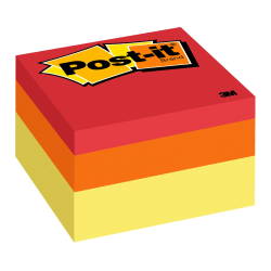 """Post-it® Notes Memo Cubes, 3"""" x 3"""", Canary Wave, Pack Of 1 Cube"""