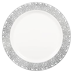 "Amscan Premium Plastic Plates With Trim, 7-1/2"", Lace, White/Silver, Pack Of 20 Plates"