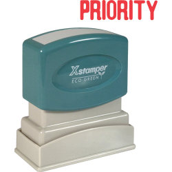 """Xstamper® One-Color Title Stamp, Pre-Inked, """"Priority"""", Red"""