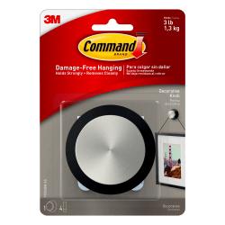 "Command™ Round Decorative Knob, 3 1/4""H x 3 1/4""W x 1 9/16""D, Brushed Nickel/Slate"