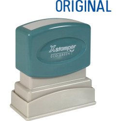 "Xstamper® One-Color Title Stamp, Pre-Inked, ""Original"", Blue"