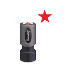 "Xstamper Pre-Inked Star Shape Stamp - Design Stamp - ""STAR"" - 0.63"" Impression Diameter - Red - Plastic Cap - Recycled - 1 Each"