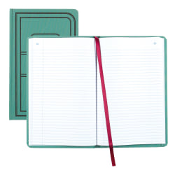 """National® Brand Sewn Canvas Account Book, 12 1/8"""" x 7 5/8"""", 50% Recycled, Green, 35 Lines Per Page, Book Of 500 Pages"""