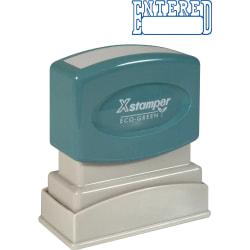 """Xstamper® One-Color Title Stamp, Pre-Inked, """"Entered"""", Blue"""