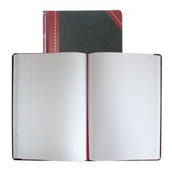 "National® Brand Hardbound Columnar Record Book, 10 3/8"" x 8 1/8"", 50% Recycled, Black, 37 Lines Per Page, Book Of 300 Pages"
