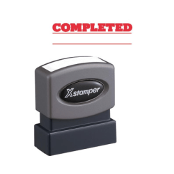 """Xstamper COMPLETED Stamp - Message Stamp - """"COMPLETED"""" - 0.50"""" Impression Width x 1.63"""" Impression Length - 100000 Impression(s) - Red - Recycled - 1 Each"""