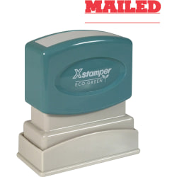"Xstamper® One-Color Title Stamp, Pre-Inked, ""Mailed"", Red"
